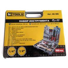 """Набор инструмента Cr-V, 1/4"""" и 1/2"""", 100 ед. HT-Tools"""